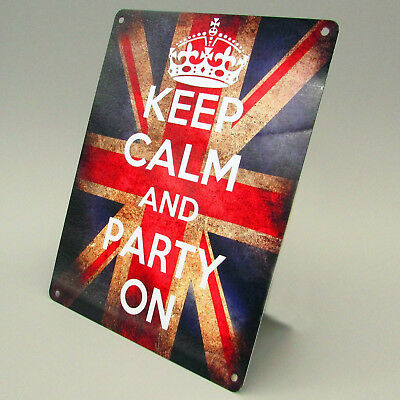 KEEP CALM AND PARTY ON METAL SIGN Retro Vintage British Flag Man cave Pub Bar ()