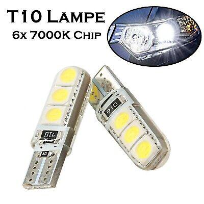 2x T10 6x5050 Chip 12V 7000K Kalt Weiß Xenon Look Positions- Standlicht Lampe