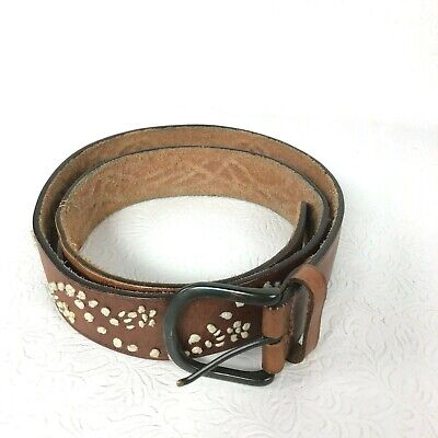 Abercrombie & Fitch Belt Womens Large Brown Leather Ivory Jute Embroidered Studs