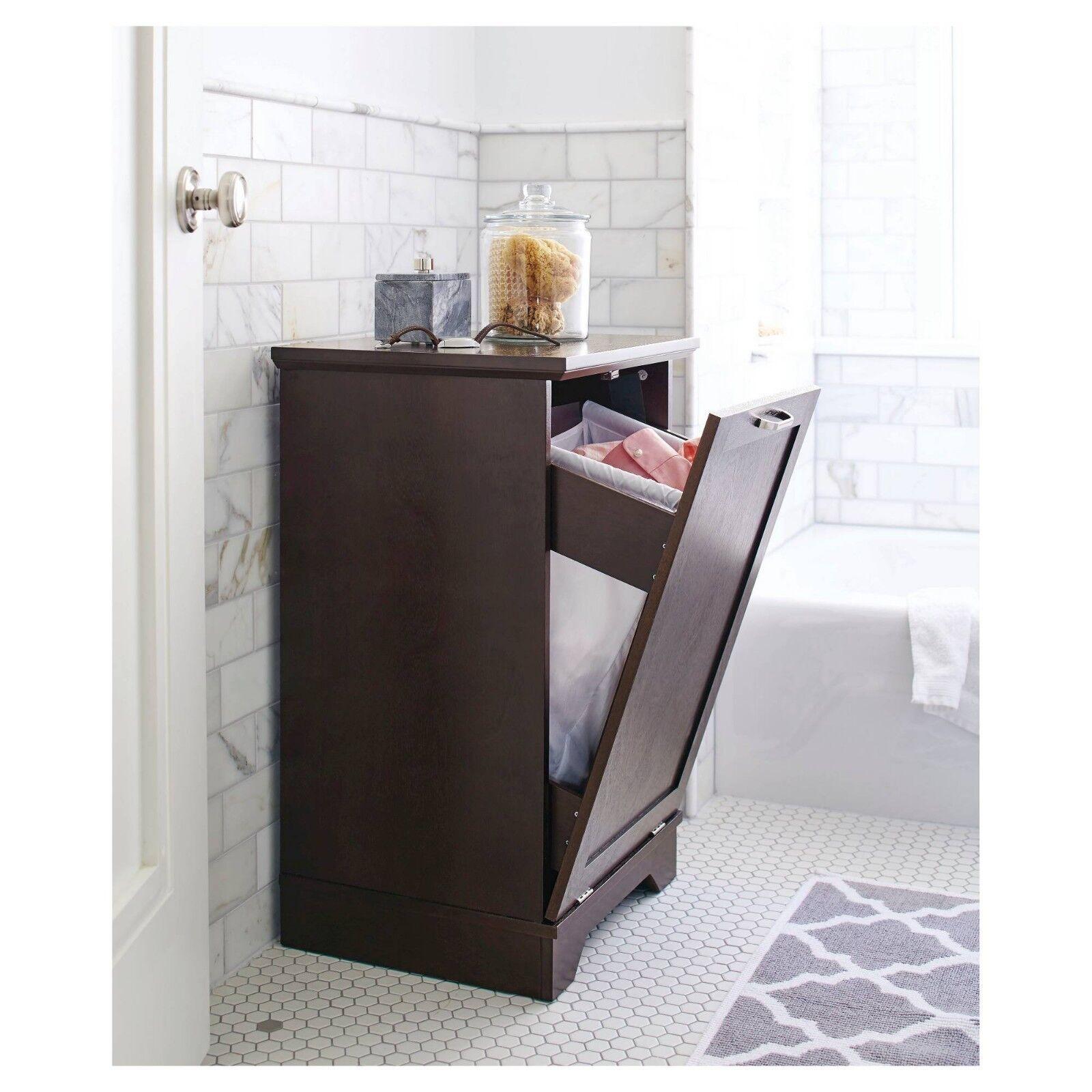 $143.34 - Threshold Home Furnishings Laundry Tilt Out Wood Hamper - Brown (NIB)