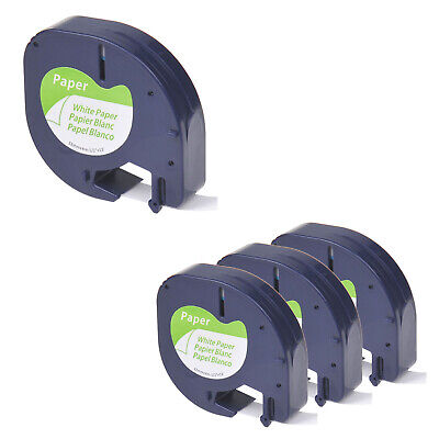 4pk Compatible For Dymo Letratag 91330 Black On White Paper Label Tape 12mm X 4m