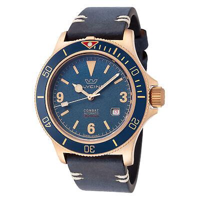 Glycine Men's GL0266 Combat Sub 42 Vintage Bronze Dark Blue Dial Leather Watch