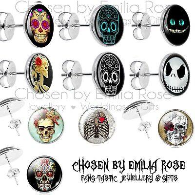 Halloween Sugar Skull Day of the Dead Tattoo Stud Earrings Rockabilly Scary Face