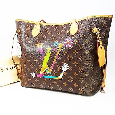 Auth Louis Vuitton Murakami Moca Special Limited Edition Neverfull MM + Dust bag