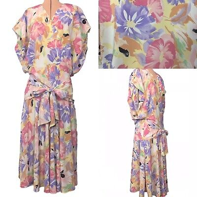 80s Dresses | Casual to Party Dresses Womens Vintage dress 80s pastel floral batwing drop waist bow belt Ken Done 12 $21.65 AT vintagedancer.com