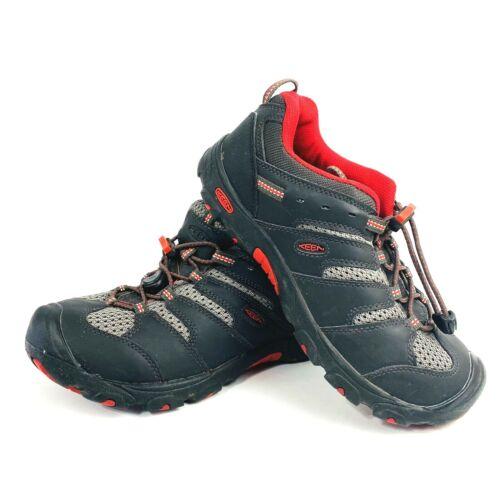 KEEN Koven Low Hiking Waterproof Shoes Gray Red Youth Sz 5 1011765 010914 EUC