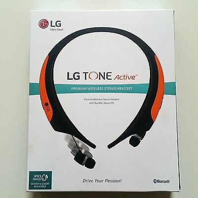 Brand New Lg Electronics Tone Active Bluetooth Wireless Stereo Headset   Orange