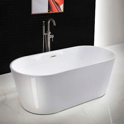 """WOODBRIDGE White 67"""" Acrylic Freestanding Bathtub B0013 with Brushed Nickel Over"""