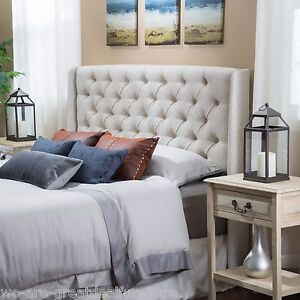 bedroom furniture queenfull size bed wingback beige tufted fabric headboard