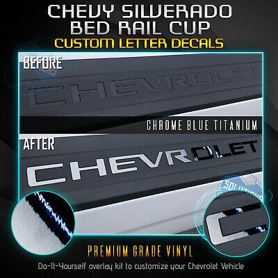 Vinyl Bed Rail - Bed Rail Cap Vinyl 2Pc Decal Fit New 2019+ Chevrolet Silverado - Chrome Mirror