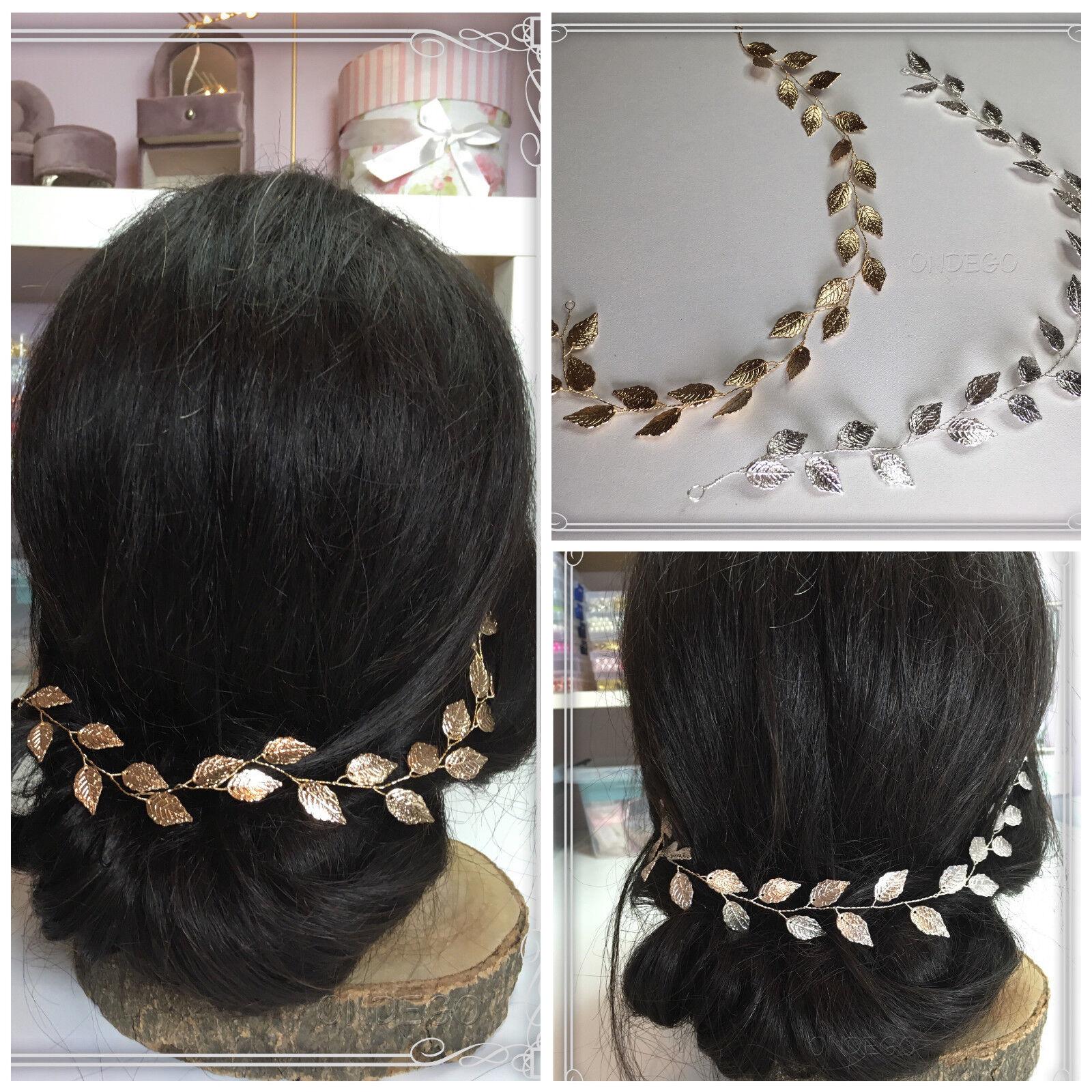 VintageSilber Gold Haarschmuck Brautschmuck Hochzeit Haarkette Haardraht Blätter