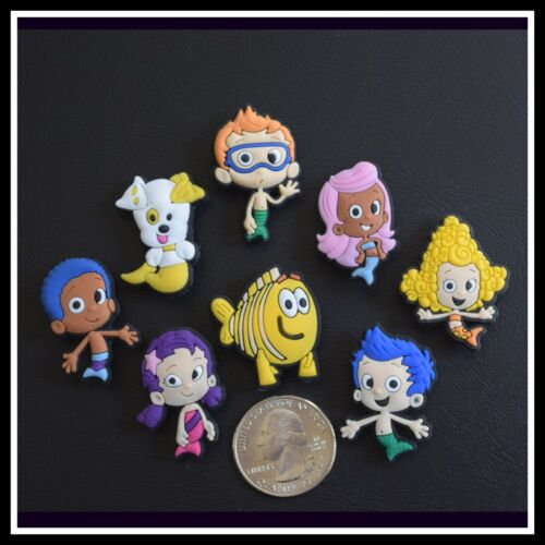 SET of 8 Shoe Charms for Crocs BUBBLE GUPPIES Nonny Deema Oona Grouper Goby Gil