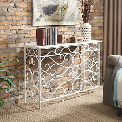 White Wood Metal Console Rustic Industrial Entryway Foyer Accent Sofa Table ()