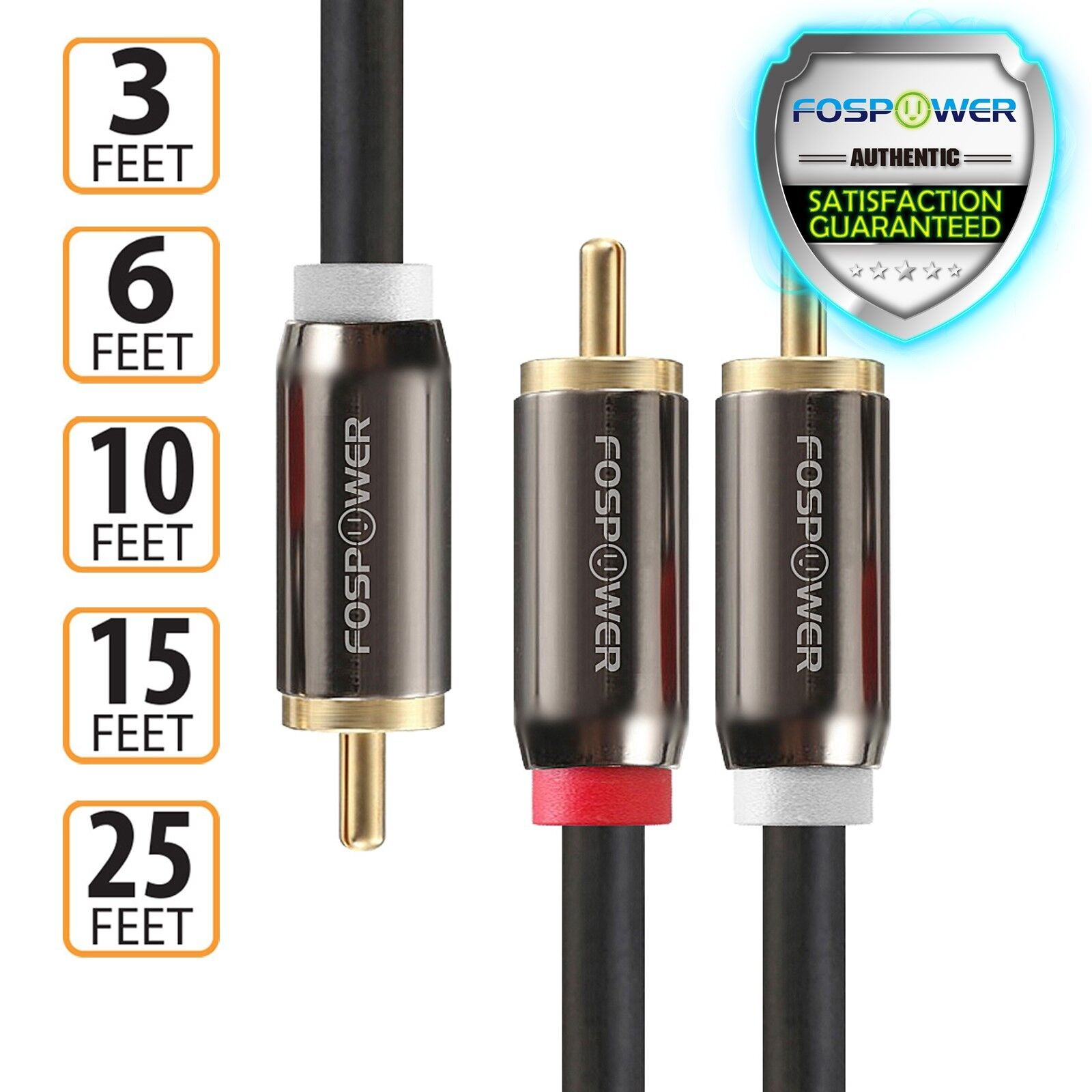 3 6 10 15 25 FT Dual Layer 2 to 1 RCA Male Splitter Stereo S