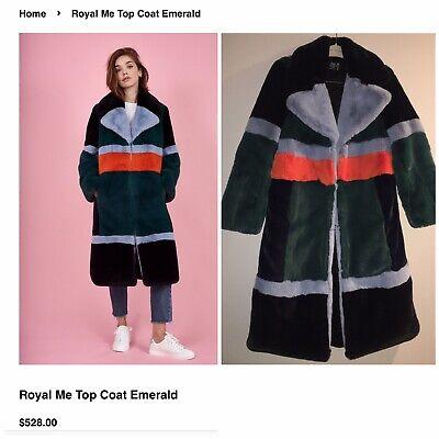 Heurueh Furr Color Block Faux Fur Coat Mint Cond! Small Retail 528$