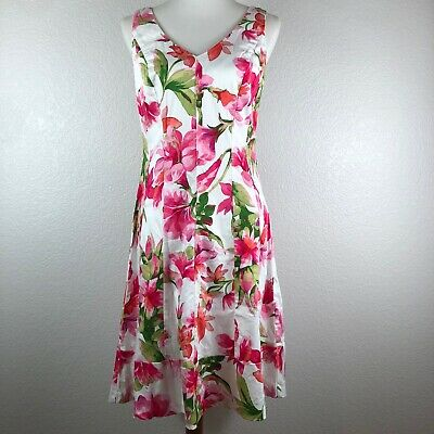 Ralph Lauren Sz 8 Fit and Flare Knee Length Dress Pink Floral Print Back Zipper