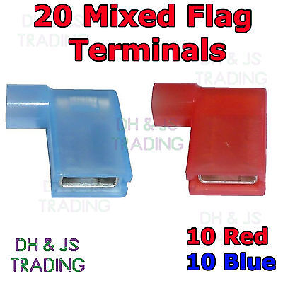 20 Mixed Flag Terminal Connectors Crimp On Right Angle Terminals Red & Blue 90°