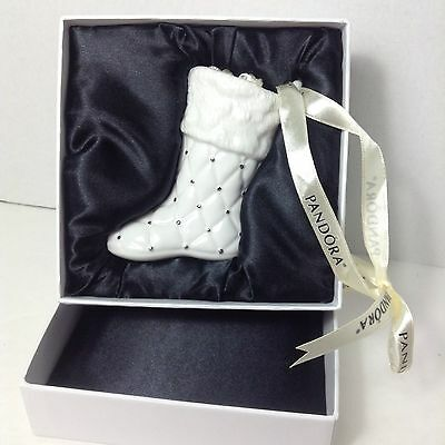 PANDORA Jewelry Christmas 2012 Ornament Porcelain Santa Shoe Stocking Box Pouch