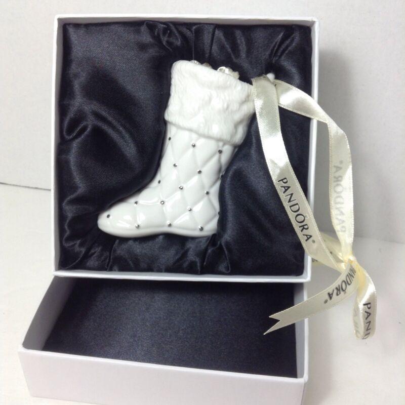 PANDORA Jewelry Christmas 2012 Ornament Porcelain Santa Stocking w/ Charm Bag