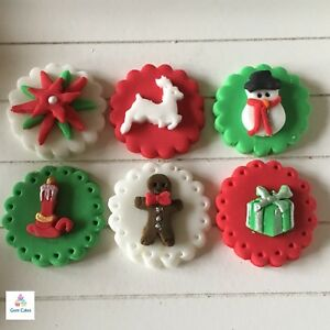 6 edible christmas cake cupcake decorations toppers reindeer snowman poinsettia - Christmas Cupcake Decorations