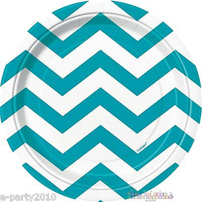 TEAL CHEVRON SMALL PAPER PLATES (8) ~ Baby Shower Birthday Party Supplies Cake - Blue Chevron Paper Plates
