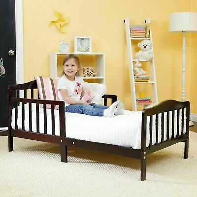 Baby Toddler Bed Kids Children Wood Bedroom Furniture w/ Safety Rails Espresso Beds & Bedframes