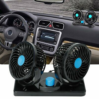 12V Dual Head Car Fan Portable Vehicle Truck 360° Rotatable Auto Cooling -