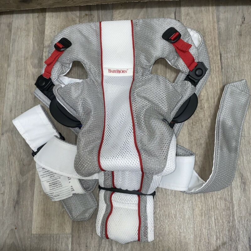 Baby Bjorn Baby Carrier Gray White Mesh 8 to 25 Lbs 8608 Infant Mother Father