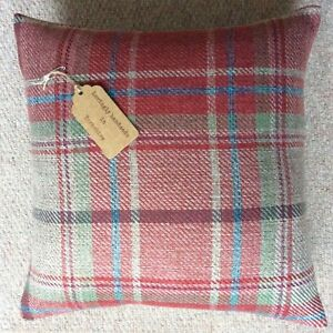 """New 16""""x16"""" cushion cover made in Next Morcott red woven checked fabric zip"""