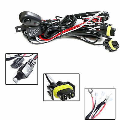 Universal Relay Harness Wire Kit + LED ON/OFF Switch For HID Worklamp Fog Lights