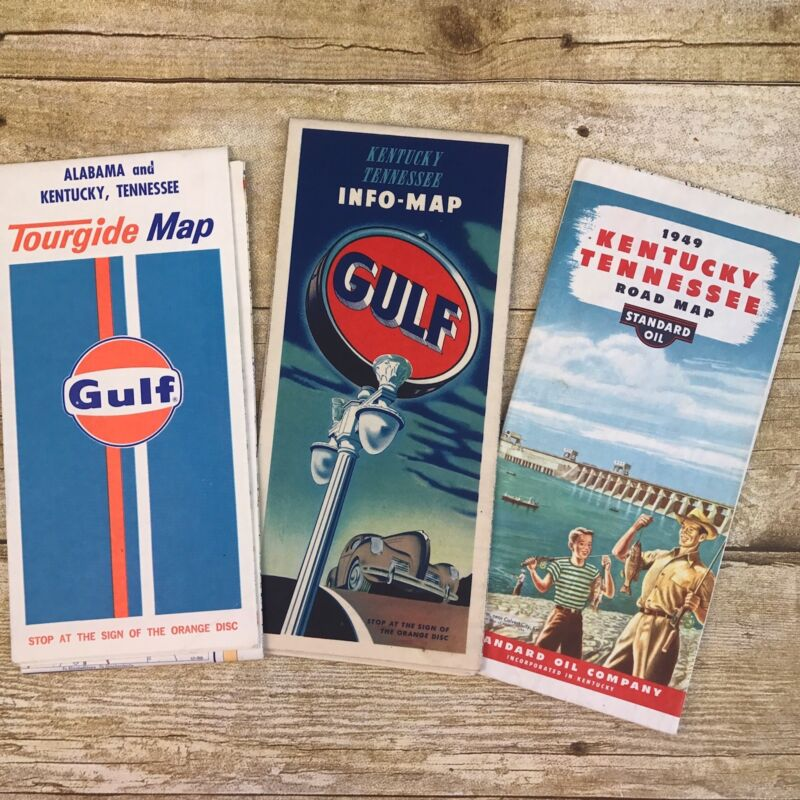 Lot of 3 Vintage Maps Kentucky Tennessee Alabama Gulf Standard Advertising