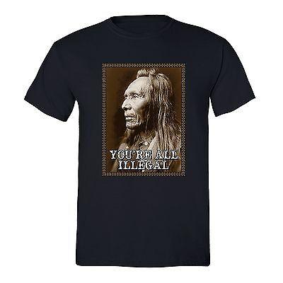 All Illegal Fighting Terrorism T Shirt Native American Flag Usa Indian Tshirt