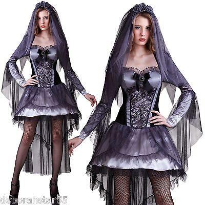 Ladies Ghost Bride Halloween Graveyard Ghoul Corpse Fancy Dress Costume 10 12 14 ()