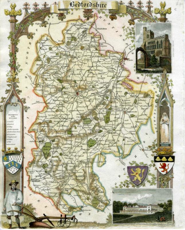 c.1840 Genuine Antique map Bedfordshire, England. Moule