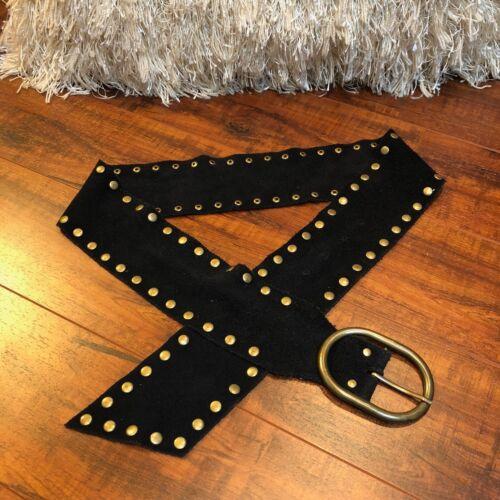 Vintage Boho Hippy 70s BLACK Wide Soft Suede Leather Brass Studded Belt M / L