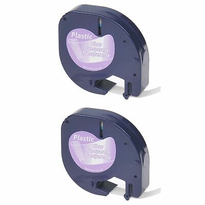 2pk Black On Clear Refill Tape Lt 16952 For Dymo Letratagqx50 Label Makers 12