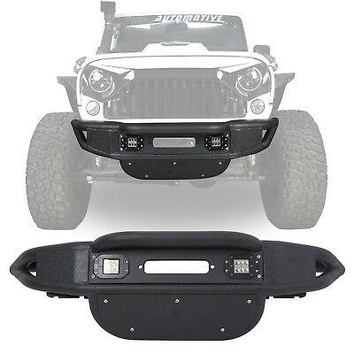 Stubby Tubular Front Bumper w/ Winch Plate for Jeep Wrangler JK 2007-2018