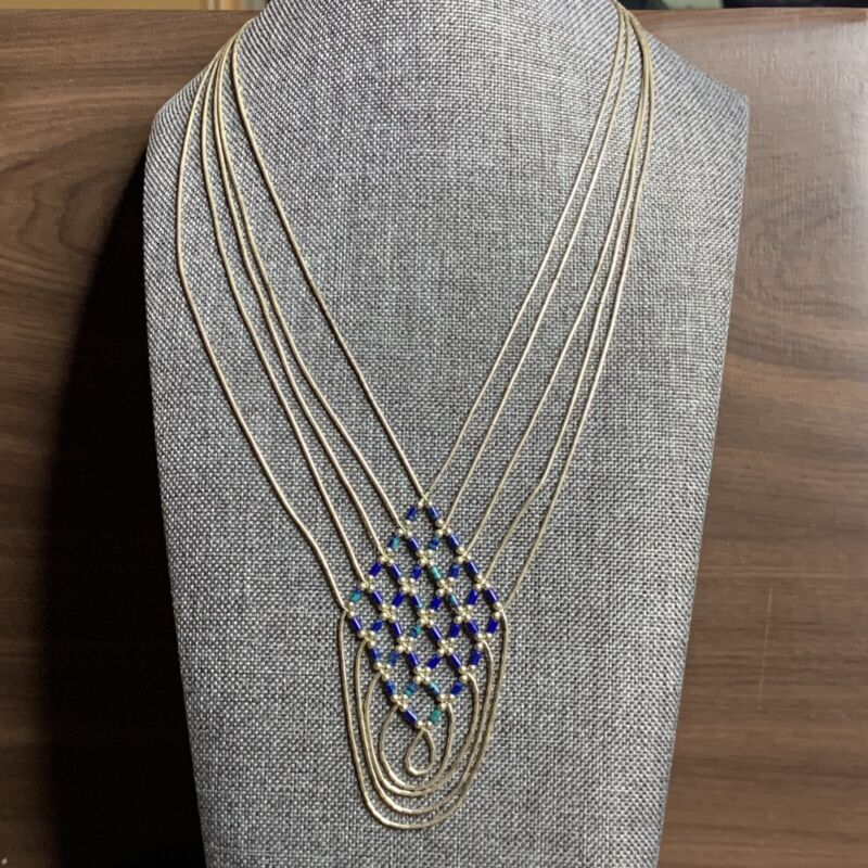 Vintage Liquid Silver 10 Strand Southwestern Style Necklace w/ Lapis