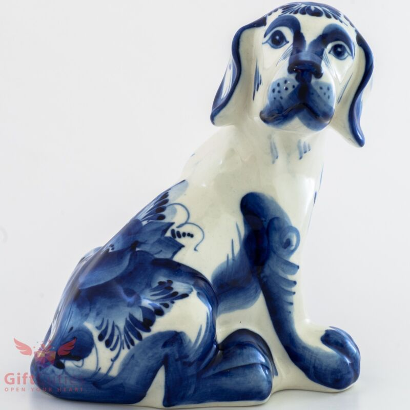 Porcelain Spaniel Dog Figurine Gzhel colors handmade
