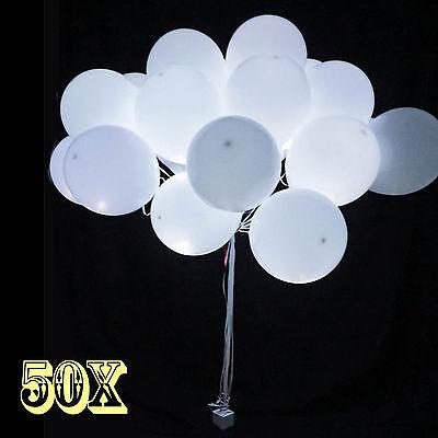 50 x Weiß LED Ballons für Hochzeit Party Kind Geburtstag Weihnachten Luftballons