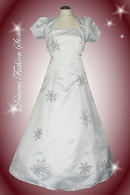 unionkleid  *Sophie* in weiß ~ inklus. Bolero (2272) 1-B Ware (Mädchen Weiße Kommunion Kleid)