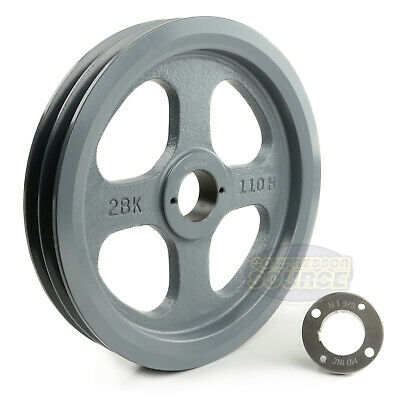 Cast Iron 10.75 2 Groove Dual Belt B Section 5l Pulley 1-38 Sheave Bushing
