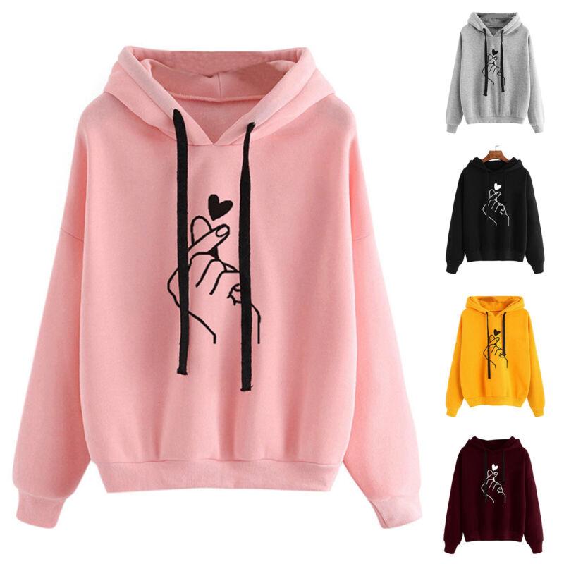 Womens Heart Sweatshirt Hooded Hoodie Jumper Winter Long Sle