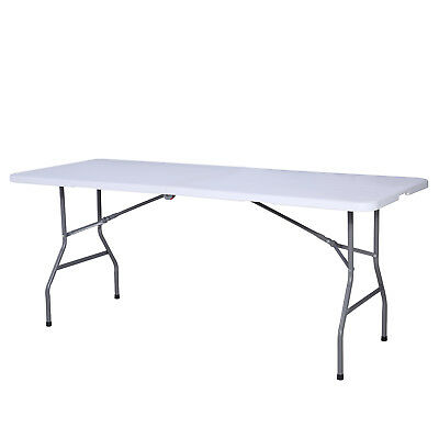 Plastic Centerfold Portable Folding Table Indoor Outdoor Picnic Party Camping