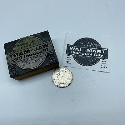Vintage Wal-mart Discount City Advertising Letterpress Block Print Stamp 2x1.5