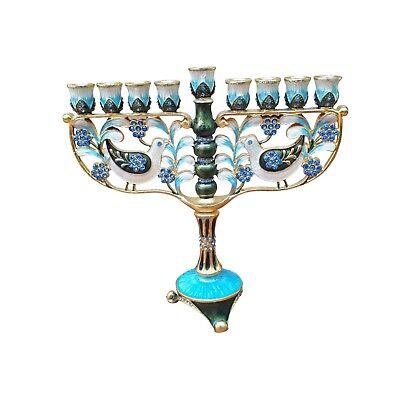 Hanukkah Menorah Decorated With Enamel And Stones - Chanukkah Decorations
