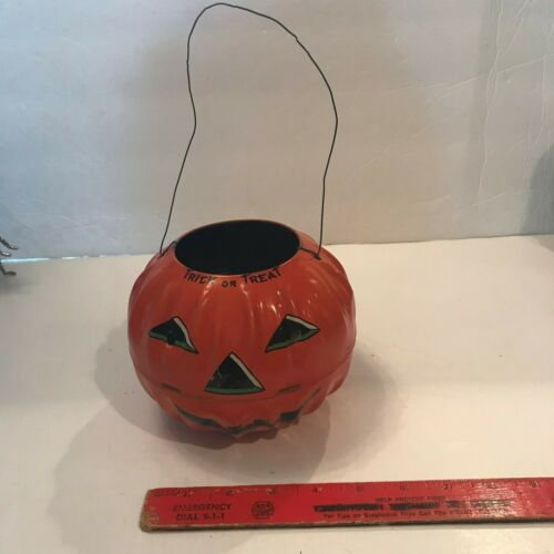 Old Vintage Halloween Tin Jack Lantern Candy Container Holder US Metal Toy Co. x