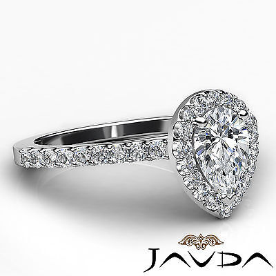 Halo Pear Diamond Engagement French U Pave Set Wedding Ring GIA H Color VVS2 1Ct 2