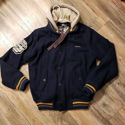Superdry Navy Wool Baseball Varsity Bomber Jacket with removable hoodie XL