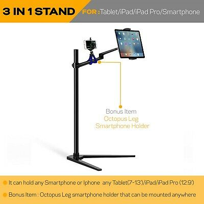 Height adjust lecture netflix bed stand fr IPAD Pro//tablet/MS Surface-Black-aa